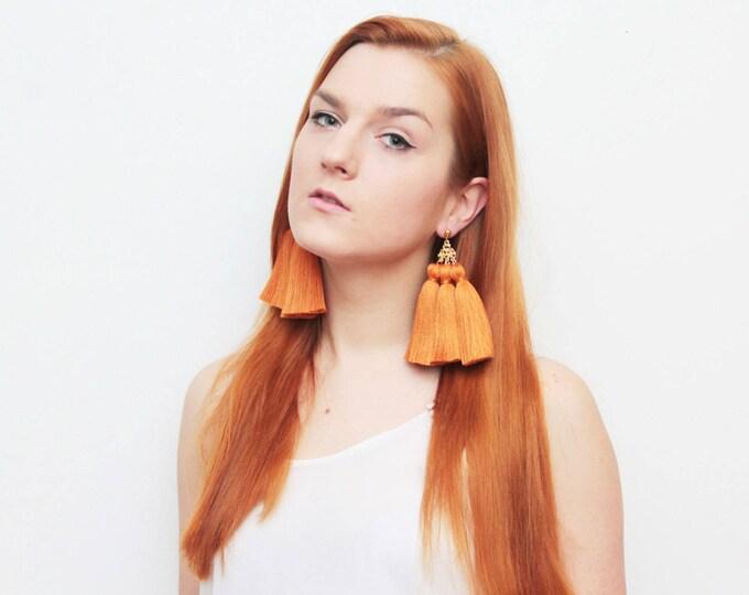 MAGICAL 6 / Tassel earrings-oversized earrings-silk tassels-metal statement earrings-orange earrings-ethnical tribal earrings-Ready to Ship