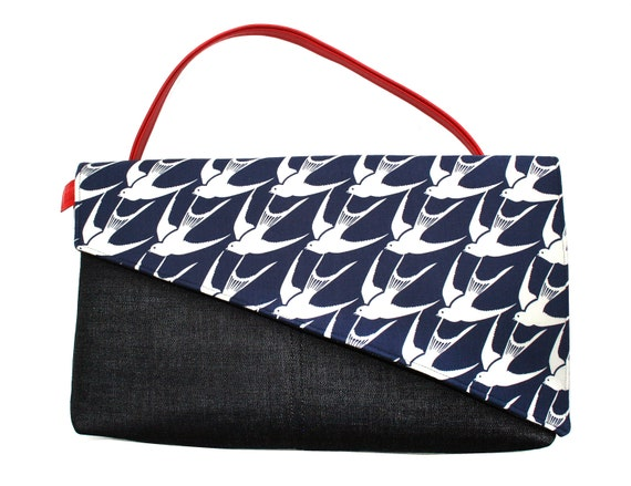 SALE! Sparrows, navy and white, briefcase,