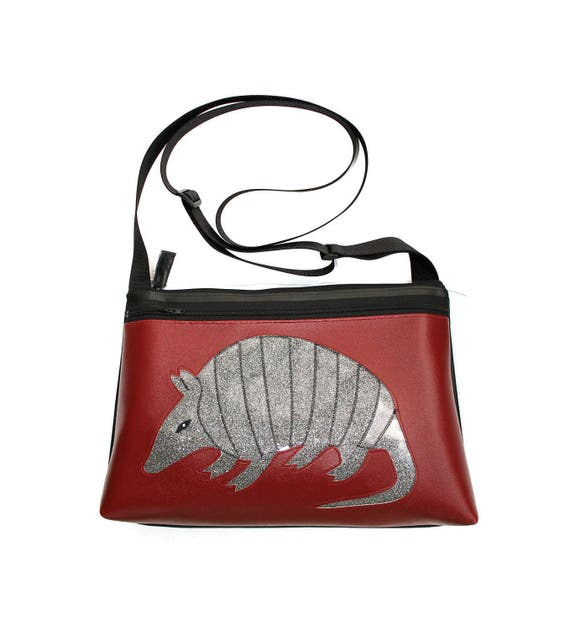 Armadillo, burgundy vinyl, silver glitter vinyl, medium crossbody, vegan leather, zipper top