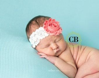 Pink Baby Headband, Baby Girl Headbands, Pink Headband, Lace Headband, Headband, Baby Bows, Pink and lace headband, newborn headband, bow