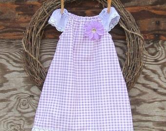 Girls Purple Dress, Girls Dress, Purple Easter Dress, Girls Gingham Dress