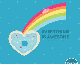 INSTANT DOWNLOAD - Rainbow Donut Clipart and Vectors for personal and commercial use
