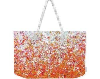 Orange Weekend Bag, Over the Shoulder Bag, Beach Bag, Large Tote Bag, Luggage Duffle Bag, Overnight Bag, Designer Diaper Bag, Pumpkins Seeds