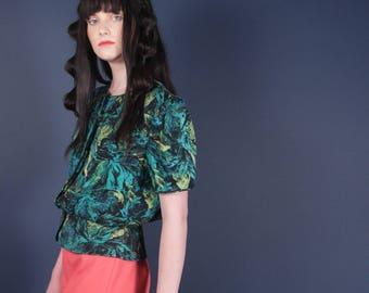 70s Tropical Silk Blouse w Peplum Waist | Floral Watercolor Top | Small