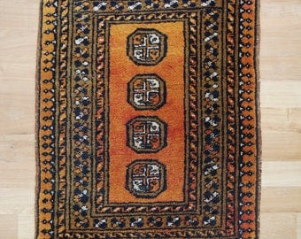 Small Vintage Rug - Hand Knotted Small Vintage Orange/Mustard Wool Rug or Mat - Boho Chic
