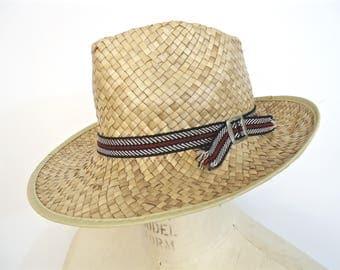 Vintage Men's Straw Sun Hat / woven wicker fedora / gardening garden beach safari hat / men's medium