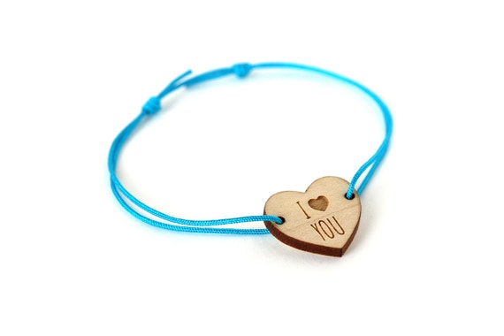 "Heart bracelet with message ""I love you"" - Valentine's bangle - wedding jewelry - 25 colors - adjustable bracelet - lasercut maple wood"