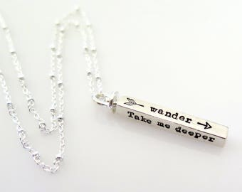 Inspirational Necklace, Take Me Deeper Than My Feet Could Ever Wander Necklace, Christian Jewelry Oceans Necklace, Hillsong United, Sterling