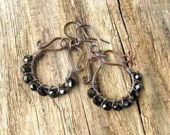 Beaded hoop earrings - black faceted Czech glass beads copper wire wrapped