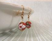 Red cloisonné earrings, pink flower earrings, enamel earrings, enamel jewelry, cloisonne jewelry, flower earrings (Style no. E109)