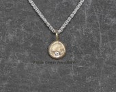 Pebble necklace 9ct recycled gold and ethical Charles  Colvard moissanite Fiona Lewis hand made in UK