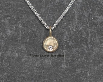 Pebble necklace, 9ct recycled gold and ethical Charles & Colvard moissanite, Fiona Lewis hand made in UK