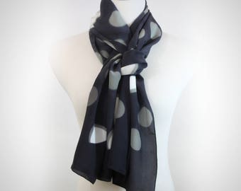 Shibori Silk Scarf in Gray with Circles