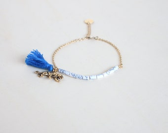 Tiger tassel bracelet with semi precious stones for women