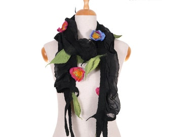 SALE!!!   elegant felt, nuno felted necklace, collar, jewerly, wrap, gorget, neckwear, fairy floral black with pink and blue flowers, gift