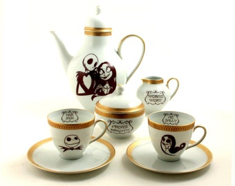 Set 2 Nightmare Before Christmas Altered Vintage His Sally Her Jack 2 Cups Espresso  Coffee Pot Porcelain Tim Burton Musical  Film Halloween