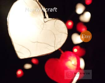 Battery or Plug 20,35 Red White Hearts Paper Fairy String Lights Hanging Party Patio Wedding Garland Gift Home Living Bedroom Holiday Decor