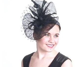 Kentucky Derby Black Fascinator, Black Straw Women Hat, Black Wedding Hat, Black Church Hat