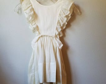 Vintage 40s Girls Off-White Pinafore Dress- Size 4/5- Gently worn