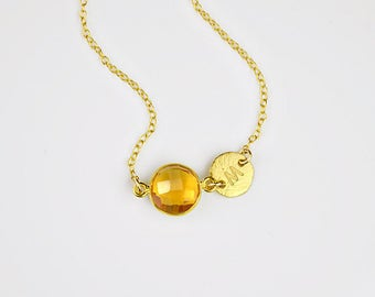 Bridesmaid gift, Custom November birthstone Necklace, Personalized necklace, citrine necklace, initial necklace baby shower gift bridesmaid