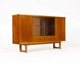 Danish Modern / Mid Century Teak Bar / Cocktail / Display Cabinet — Shallow footprint — Sled Base