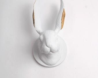 The Bertruce in White + Gold - Lop Bunny Rabbit Sculpture - Kids Room Wall Art - Resin Jackrabbit Head Mount - Animal Bunny & Easter Decor
