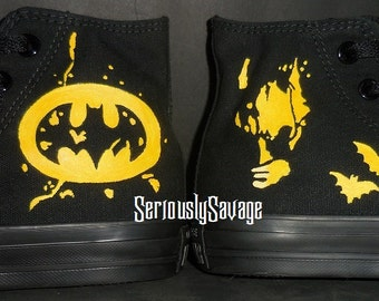 Custom Painted Batman shoes Converse Vans Toms As pictured or choose any Superhero Spiderman Flash Iron Man Captain America and more