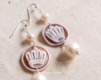 QUEEN Earrings - 925 sterling silver earrings with authentic shell cameos with crown, completely handmade-freshwater pearls