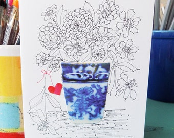 """COLOR MY OWN Original Note Card, An Original Hand Drawn Pen and Ink Card, Adult Coloring, Blank, """"Tiny Bouquets"""""""