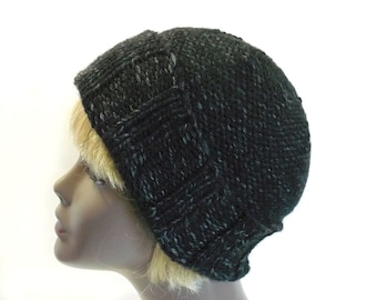 Man's Black Watchcap or Slouchy Beanie - Hand Knit Winter Hat, Chunky Knit Wool Hat, Convertible Hat, Handmade in USA, Ready to Ship
