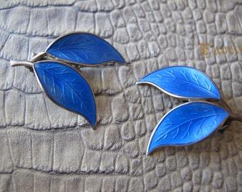 RESERVED Mid Century Norwegian Gilt Sterling & Enamel Leaf Earclips Earrings Signed DA David Andersen 925 Silver Scandinavian Jewelry Norway