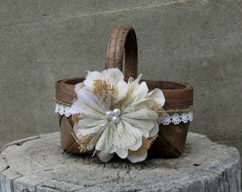 Small Rustic Flower Girl Basket - Wedding Basket - Flower Girl Basket - Burlap Flower Girl Basket - Rustic Wedding -Flower Girl