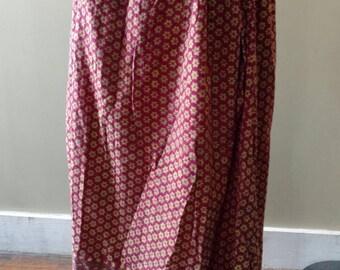 Vintage 60s Handmade Drawstring Hippie Bohemian Skirt Boho  One Size Adjustable