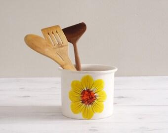 Vintage Ceramic Kitchen Utensil Jar with Yellow Daisy