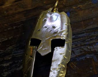 Large Spartan Brass Necklace Unisex Handcrafted Helmet Pendant; Patina Jewelry; Metalwork; Warrior; Spartaca; Solid; Greece; Race; Fighter;