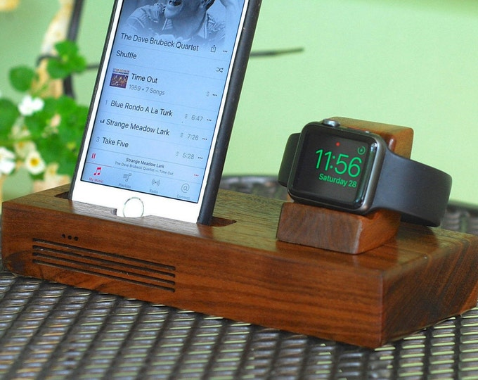 iPhone & Apple Watch Docking Station, the CONCERT Tandem dock in WALNUT.