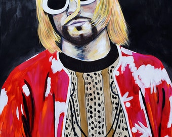 Original Large Scale portrait painting of Kurt Cobain by artist Natalie Jo Wright.