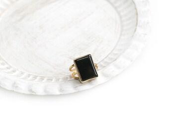 Adjustable Rectangular Black Onyx Stone Gold Plated Ring