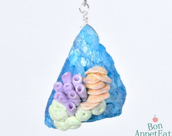 Coral and Blue Druzy Agate Bead Necklace Version 1, Polymer Clay Jewelry, Miniature Coral, Ocean Jewelry, Blue Druzy Agate Bead