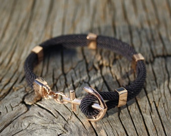 ANCHORED - Anchor bracelet in rose gold steel - waterproof
