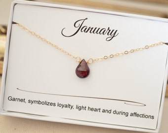 January garnet birthstone necklace, January birthday gift for daughter, Gold garnet necklace, Garnet Jewelry, Small gold necklace, Gemstone