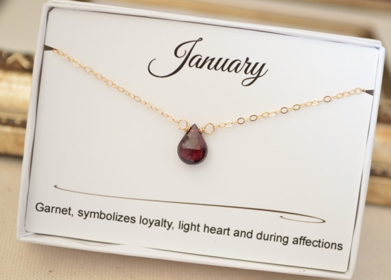 January Garnet Birthstone Necklace January Birthday Gift For