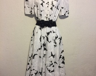 1980s Black & White Classic Shirtwaist Dress
