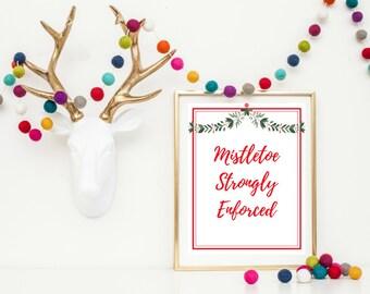 Christmas Wall Art Printable - Mistletoe Printable - Christmas Printable