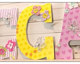 Hearts. Baby Girl. Bright Colors. Nursery Letters. Butterfly Nursery. Bedroom Wall Letters. Baby Nursery. Wood Letters. Name Letters.