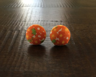 Citrus Floral Fabric Button Post Earrings