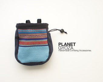 Chalk Bag - patchwork stripes and green / outdoor climbing / gift for climber