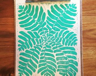 Fern Linoleum Hand Carved Block Print