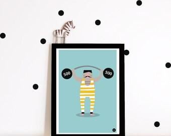 Nursery decor, nursery wall art, circus poster, nursery print, kids wall art, strongman, nursery art, boys room decor