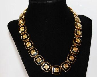 SALE! Vintage Art Deco Revival Black Enamel Geometric Couture Link Necklace NC1